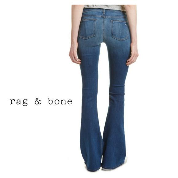 Rag /& Bone Women/'s Elephant Bell Houston Flare Leg Denim Distressed Jeans